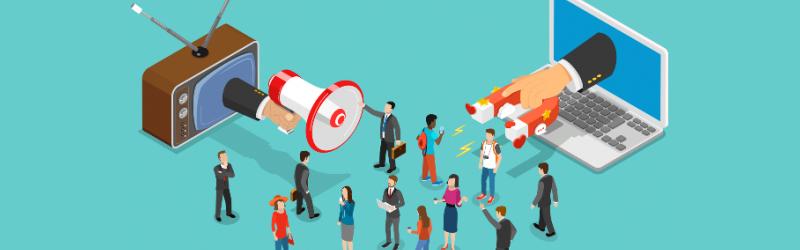 Ilustração com um megafone saindo da TV e um imã do notebook e varias pessoas ao centro