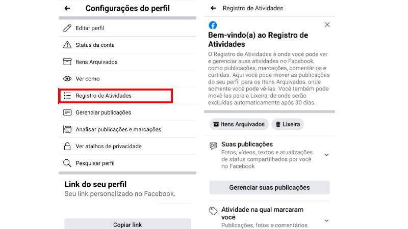 Printscreen de como chegar ao registro de atividades para ver as páginas que você curtiu