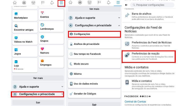 Printscreen de como chegar ao botão de que desativa as curtidas no facebook