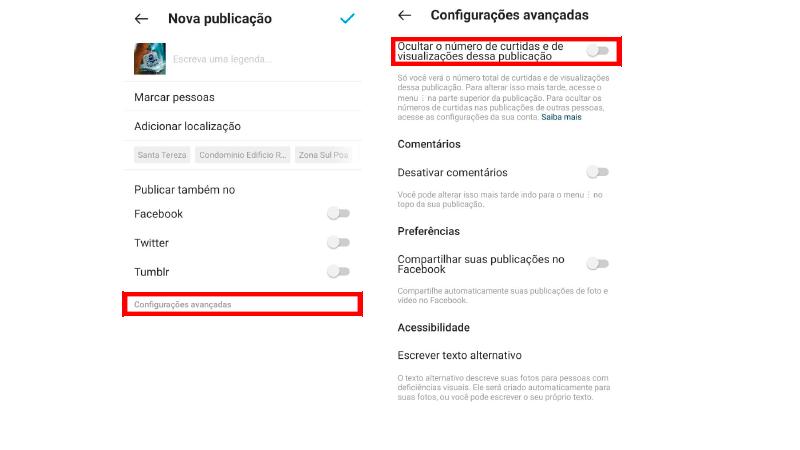 Print Screen de como desativar as curtidas de publicações novas no Instagram
