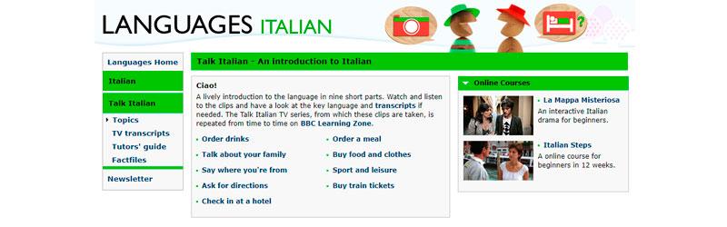 Captura de tela do site Languages Italian