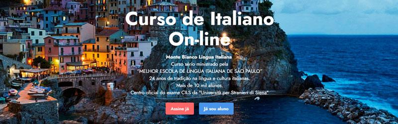 Captura de tela do site Curso de Italiano Online Monte Bianco