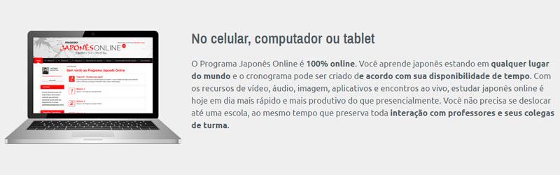 Captura de tela do site Aprendendo Japonês Online
