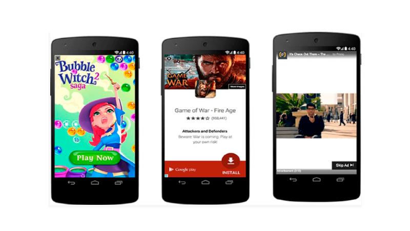 Anúncios de Rich media intersticiais sendo exibidos em dispositivos móveis