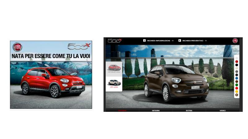 Anúncio expansível veiculado pela Fiat, mostrando várias interações possíveis a partir desse anúncio como mudança de cor do carro