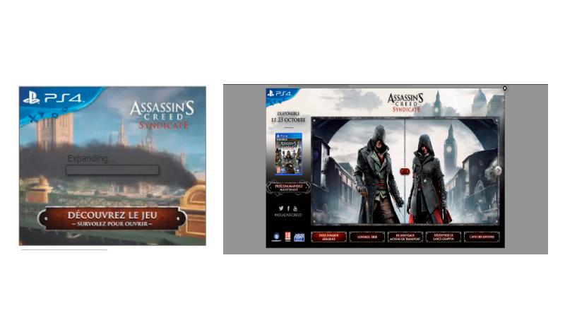 Anúncio expansível veiculado pela Ubisoft, mostrando várias interações possíveis a partir desse anúncio como conhecer a história dos personagens