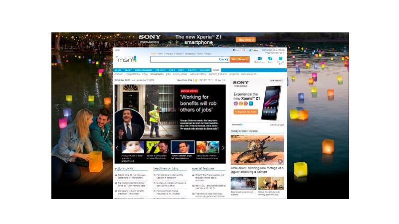 Anúncio page takeover ocupando todo o background de um site