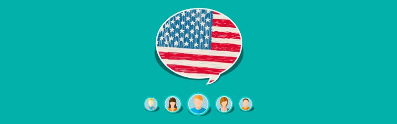 Balão de fala com bandeira dos EUA e ícones de pessoas