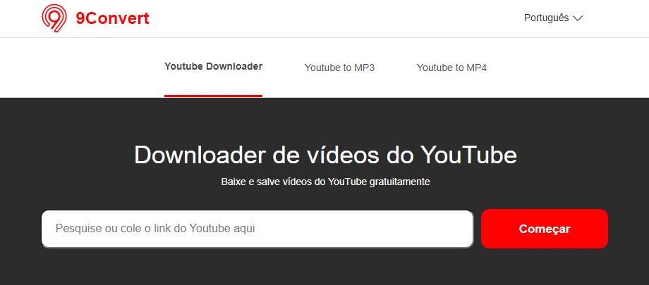 Guia de como baixar vídeo do YouTube com o 9Convert