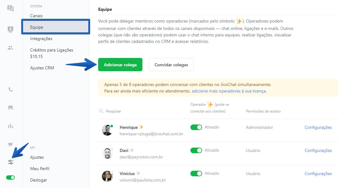 Interface do painel de Equipe do JivoChat