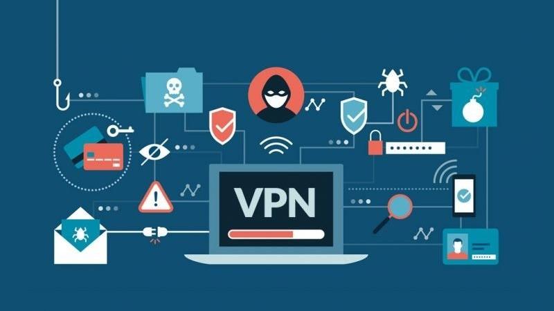 Ilustração de um notebook conectado no VPN e diversos ícones de segurança e privacidade