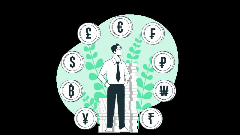 Imagem vetorizada de um homem e várias moedas