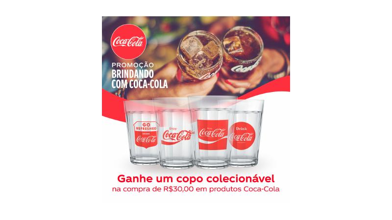Imagem de um banner de uma promoção da Coca-Cola ganhe copo nas compras acima de R$ 30,00.