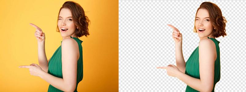 Foto de uma mulher sob fundo laranja ao lado da mesma foto após tirar o fundo da imagem