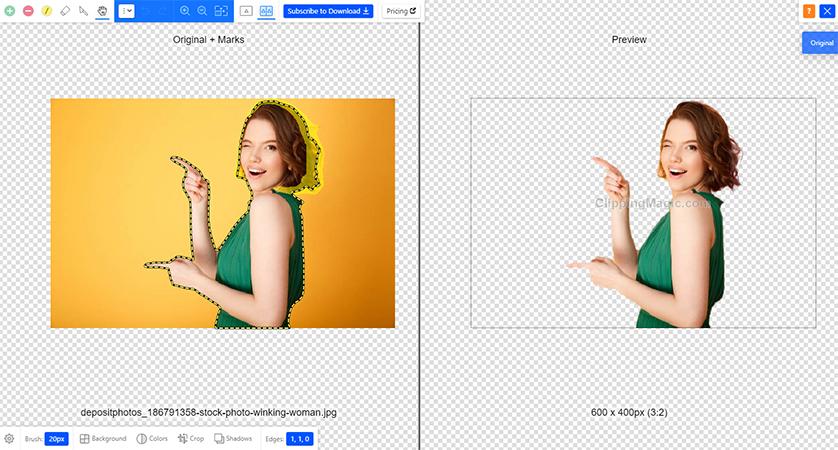 Interface da ferramenta para remoder fundo de imagem do Clipping Magic