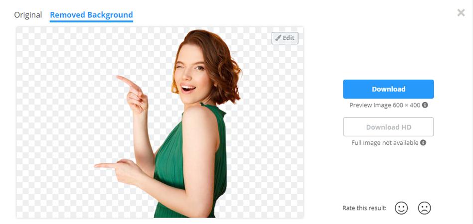 Interface do removedor de fundo de imagem Remove BG