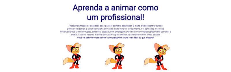 captura de tela da página do curso de animação e rig como estúdio