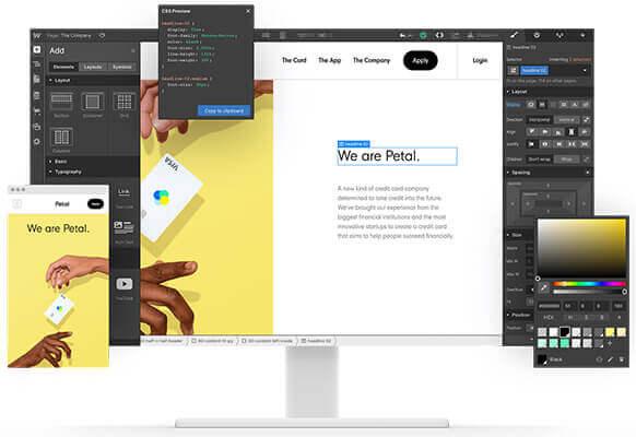 Telas de computador e smartphone com a interface de edição do Webflow