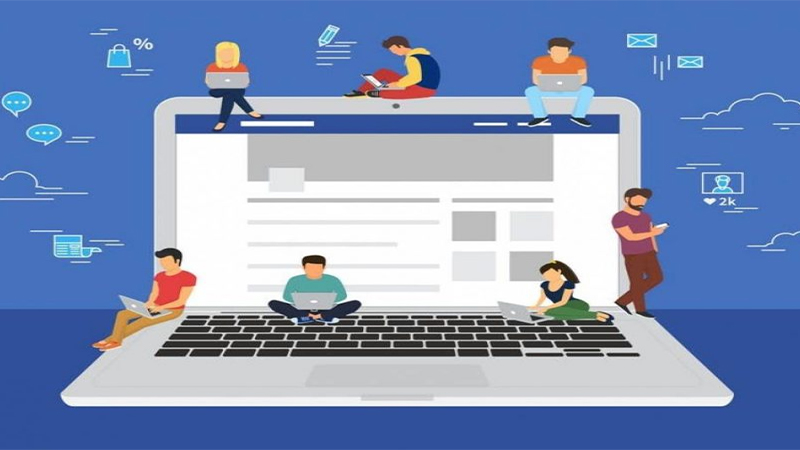 Ilustração de um notebook gigante aberto no Facebook e varias pessoas utilizando notebooks