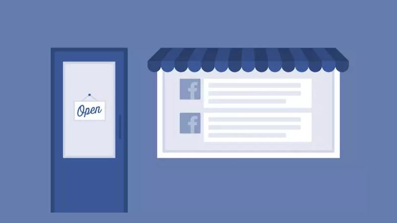 """Ilustração de uma fachada de loja com uma porta escrito """"aberto"""" e uma janela com publicações do Facebook"""