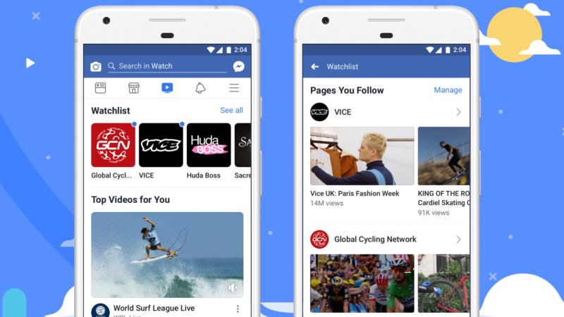 Imagem de dois celulares abertos na tela do Facebook Watch com vídeos em miniatura