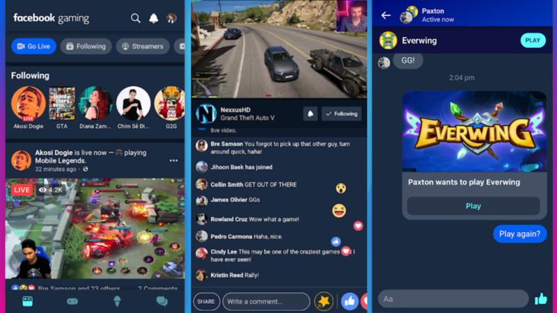 Captura da tela do Feed do Facebook Gaming com o chat aberto