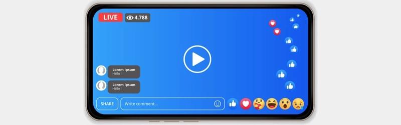 Foto da tela de um celular em uma transmissão ao vivo do Facebook