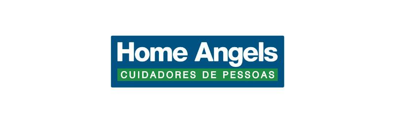 """Logo da franquia Home Angels com o slogan """"cuidadores de pessoas"""""""