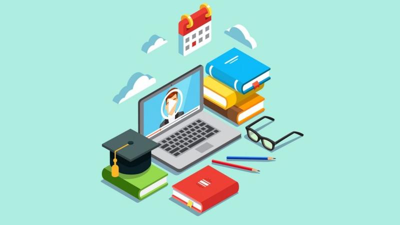 Ilustração de notebook com vídeo aberto e livros