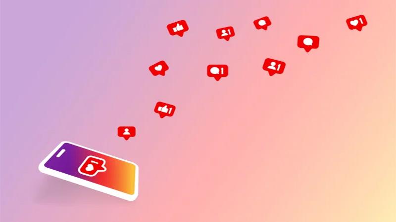 Ilustração de um celular recebendo diversas notificações do Instagram
