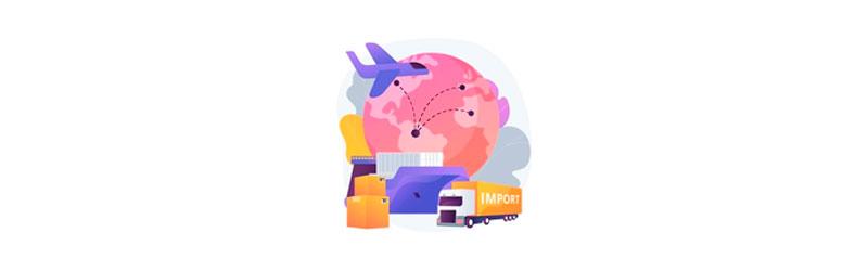 Veículos relacionados à logística e importação: avião, navio e caminhão