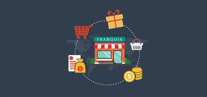 Design gráfico de uma loja com ícones de carrinho de compras, moedas e caixas de presente ao redor