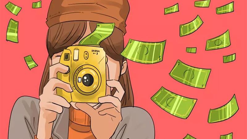 Ilustração de uma mulher fotografando e dinheiro saindo da maquina