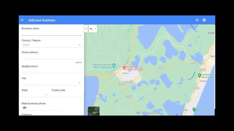 Página de Inserção de dados no Google Meu Negócio