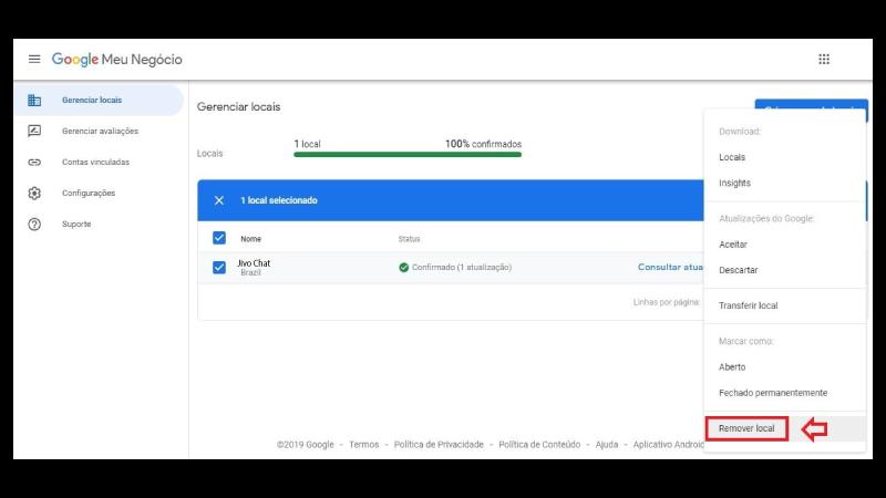 Print screen de exclusão de conta Google Meu Negócio 2