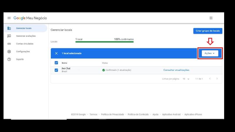 Print screen de exclusão de conta Google Meu Negócio