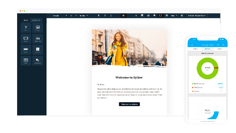 Template de e-mail marketing do Zoho Campaigns em seu editor