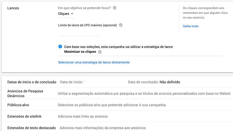 Print screen Google Ads extensões de anúncios