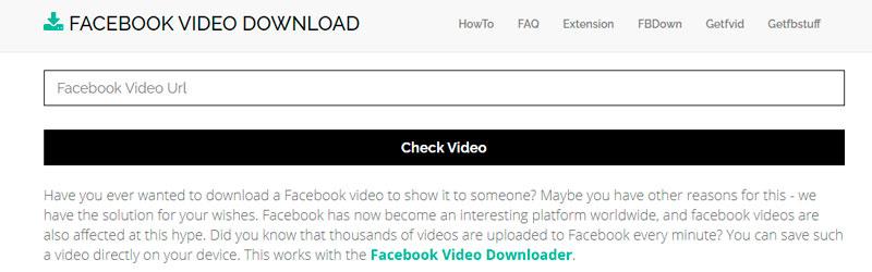 Captura de tela de como baixar vídeo do Facebook usando o Getfbstuff