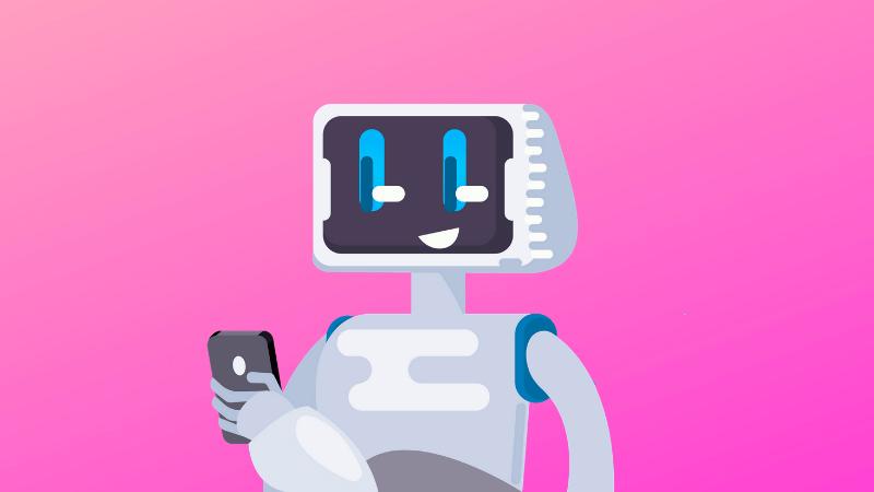Ilustração de um robô utilizando um celular