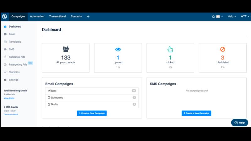 Print Screen da interface do CRM Sendinblue