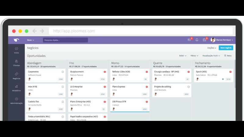 Print Screen da interface do CRM Ploomes