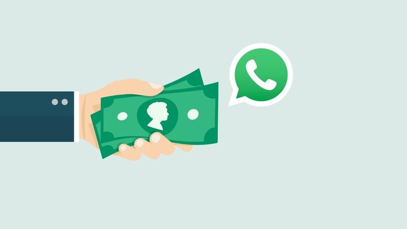 Ilustração de uma mão segurando dinheiro e o símbolo do WhatsApp
