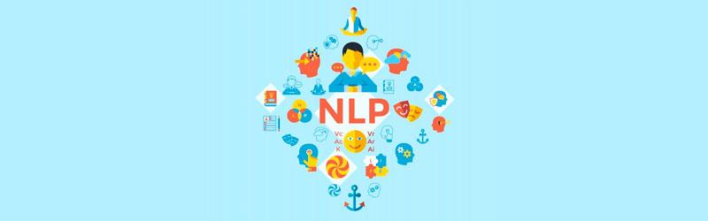 """Texto """"NLP"""" rodeado por elementos visuais relacionados à comunicação"""