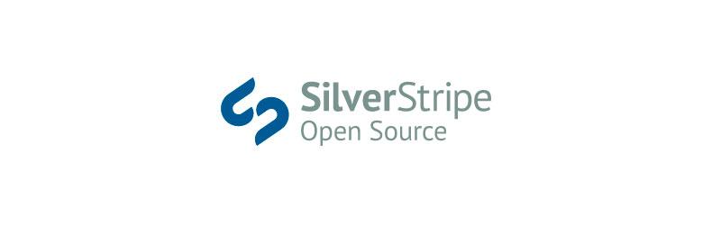 "Logo da empresa SilverStripe com o texto ""open source"" embaixo"