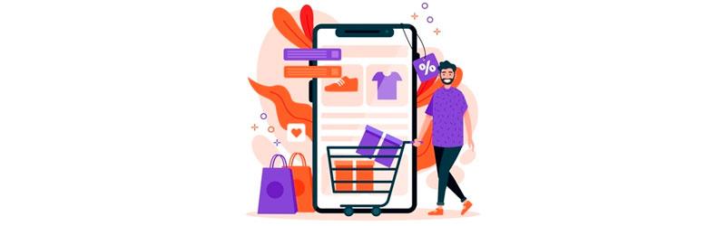 Consumidor fazendo compras através de seu celular