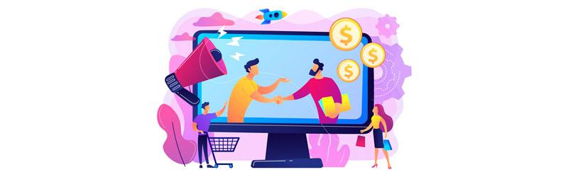 empreendedor apertando a mão de um empresário para fechar parceria de afiliado