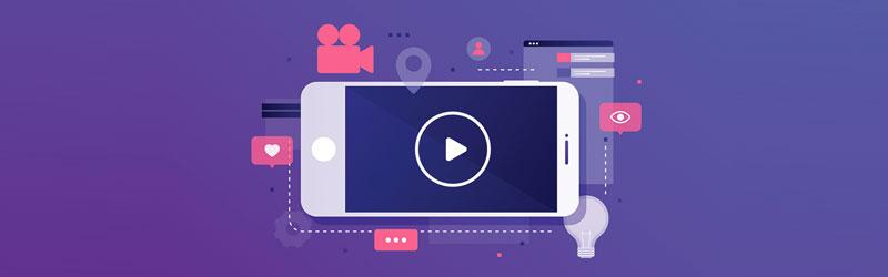 """celular com um ícone de """"Play"""" em sua tela"""