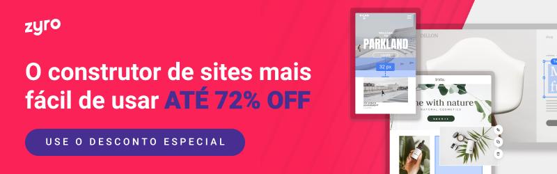 Zyro - o construtor de sites mais fácil de usar, com desconto de até 72%