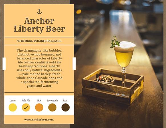 Informativo da Anchor Liberty Beer com uma foto de uma taça com cerveja